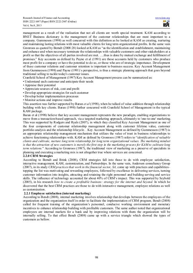 Literature review customer relationship management banking