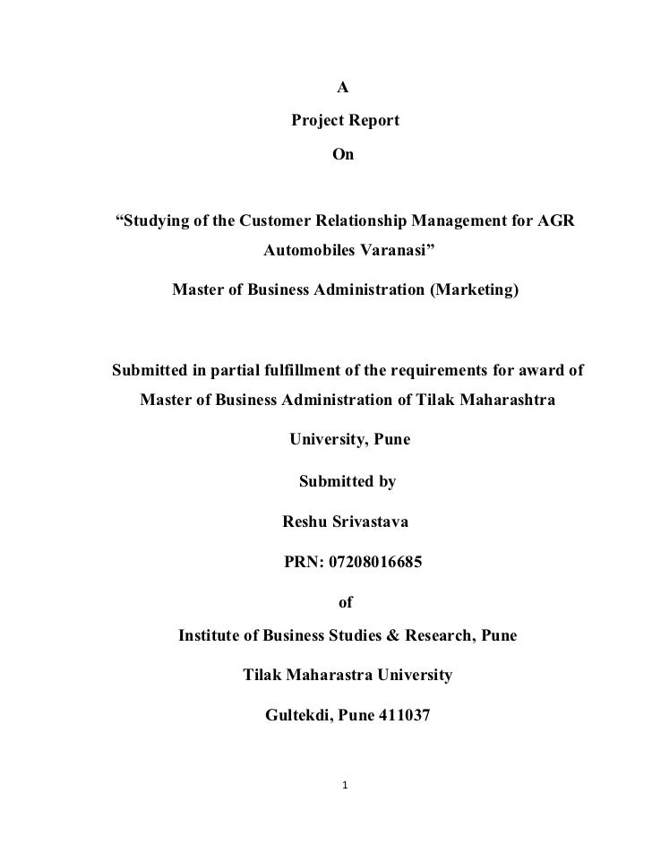 "A                        Project Report                              On""Studying of the Customer Relationship Management f..."