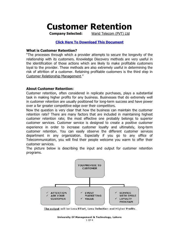 Customer Retention                Company Selected:           Warid Telecom (PVT) Ltd                     Click Here To Do...