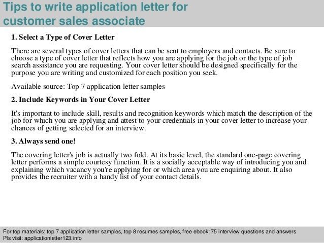 Cover Letter For Customer Sales Associate