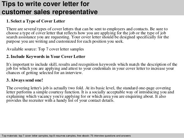 Customer sales representative cover letter
