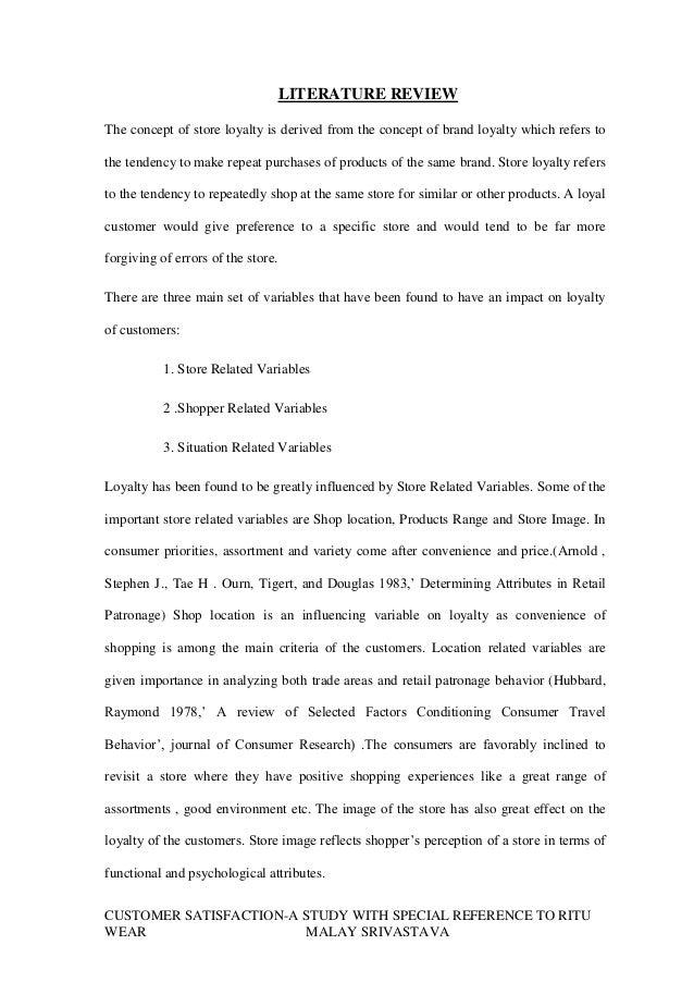 literature review customer