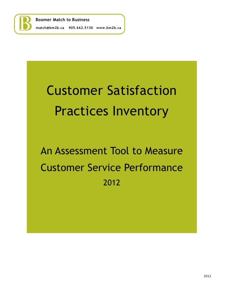 Boomer Match to Businessmatch@bm2b.ca   905.662.5130 www.bm2b.ca    Customer Satisfaction        Practices Inventory  An A...