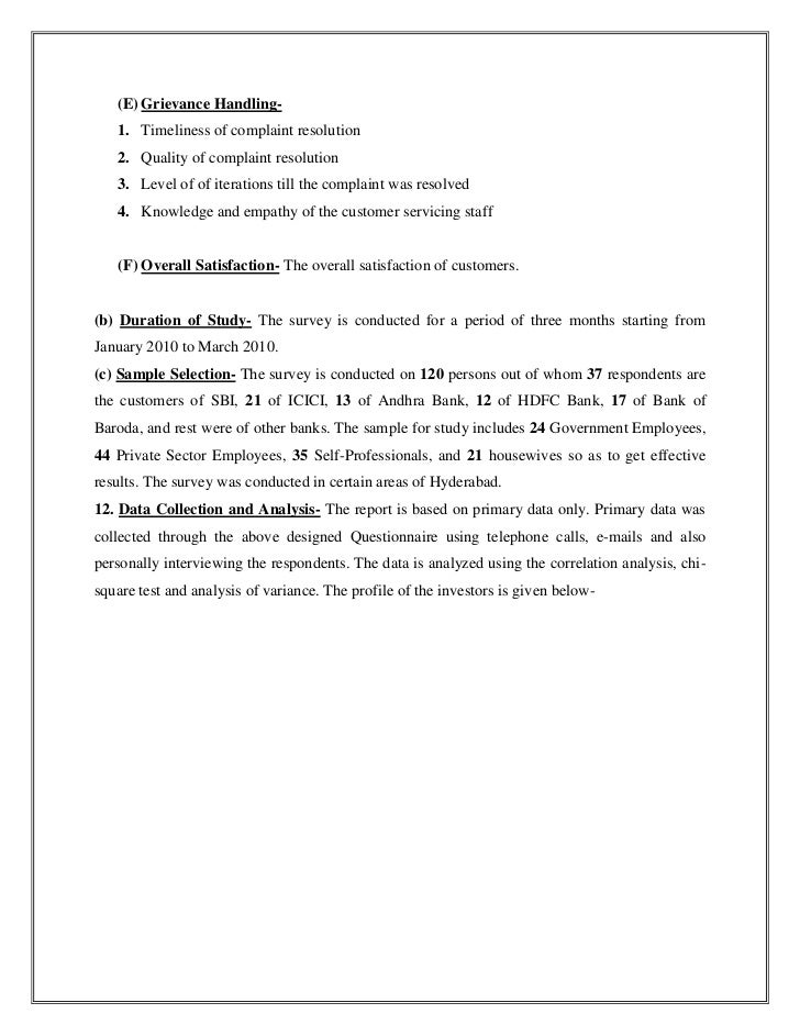 customer satisfaction project report of hdfc bank
