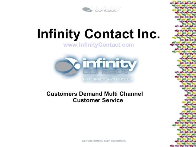 Infinity Contact Inc.www.InfinityContact.comCustomers Demand Multi ChannelCustomer Service