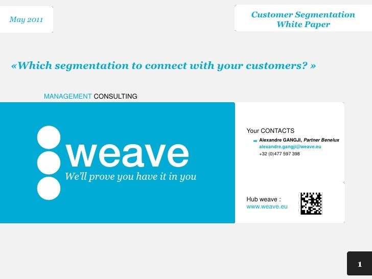 Customer SegmentationMay 2011                                              White Paper«Which segmentation to connect with ...
