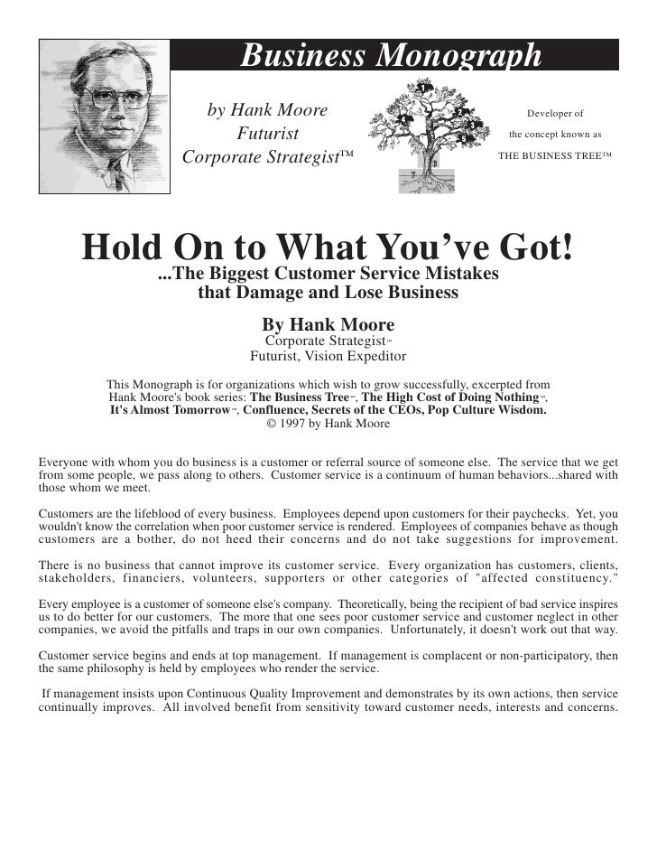 Business Monograph                               by Hank Moore                                                     Develop...