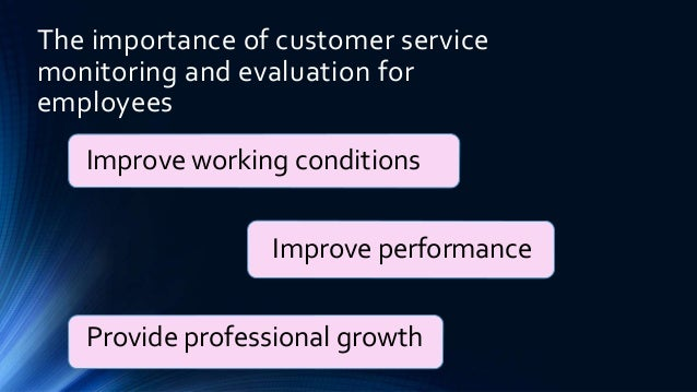 explain how monitoring and evaluating can improve customer service for the customer the organisation 1996, number 9 performance monitoring and evaluation customer service assessments may also be used to elicit performance monitoring and evaluation broadly.