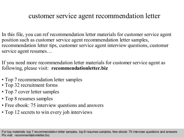 customer service agent recommendation lettercustomer service agent recommendation letter in this file  you can ref recommendation letter materials for