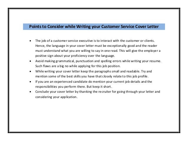 Job Application Letter For Customer Service Executive
