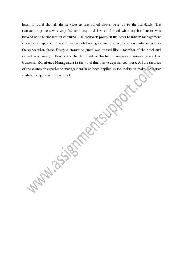 Essay on customer service experience