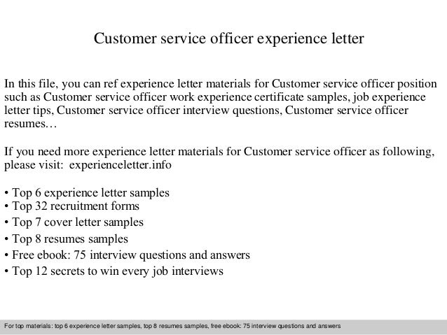 Customer Service Officer Experience Letter