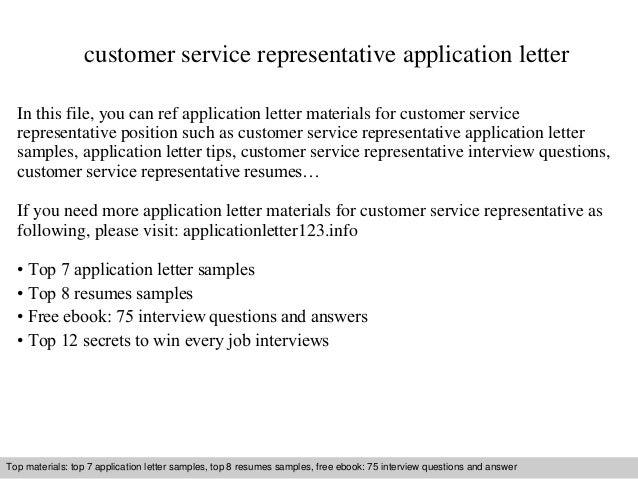 Application Letter For A Customer Service Representative