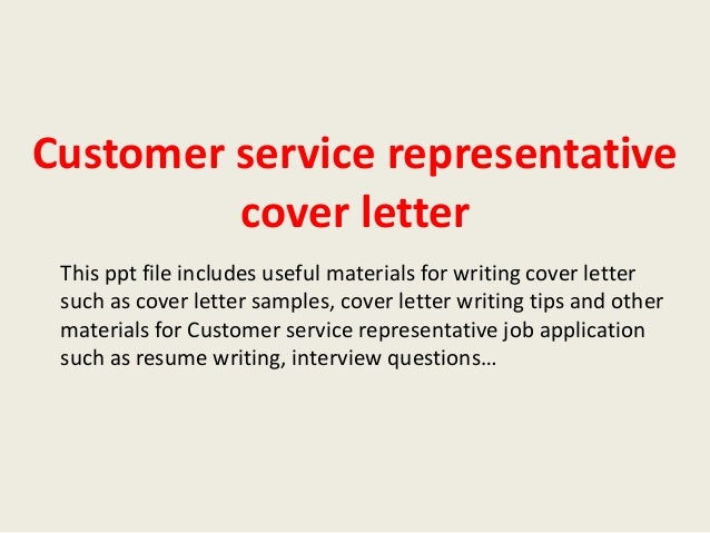 Cover letter customer services representative