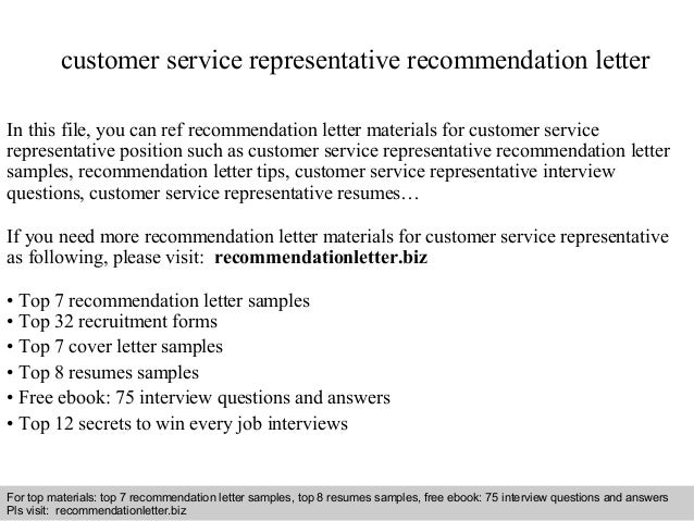 customer service representative recommendation lettercustomer service representative recommendation letter in this file  you can ref recommendation letter materials for recommendation letter sample