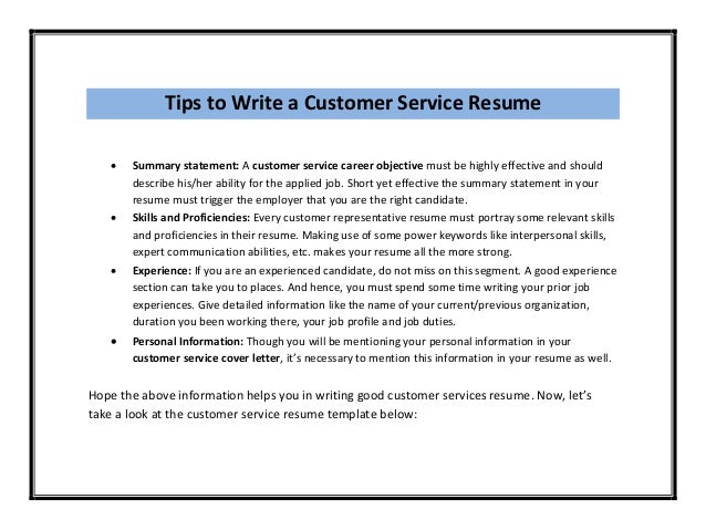 Sample Resume Objective For Customer Service Statement
