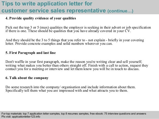 customer service sales representative application letter