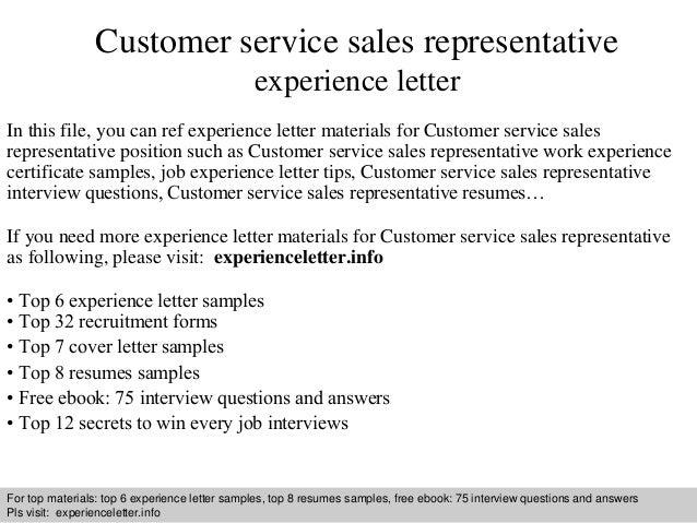customer service sales representative experience letter