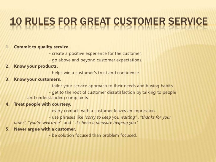 What are some examples of quality customer service?