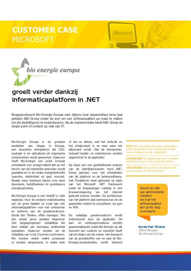 Customer Case .NET en Managed Services - Bio-Energie Europa
