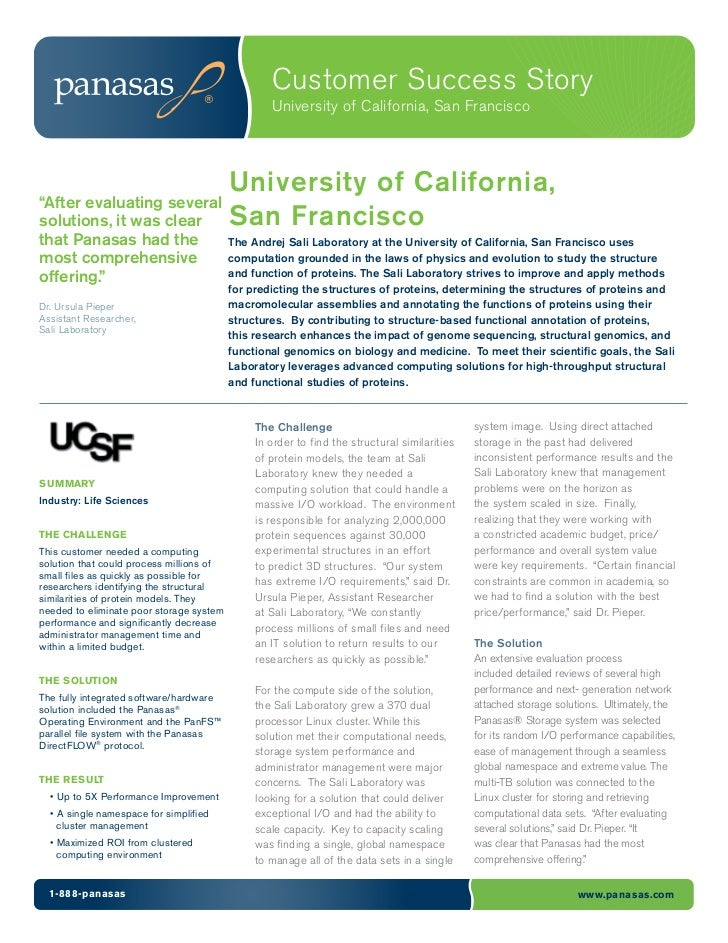 Customer Success Story                                                  University of California, San Francisco           ...