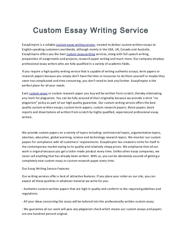 Education custom writing essay service