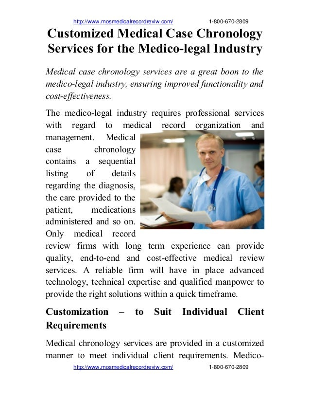 Customized medical case chronology services for the medico legal industry