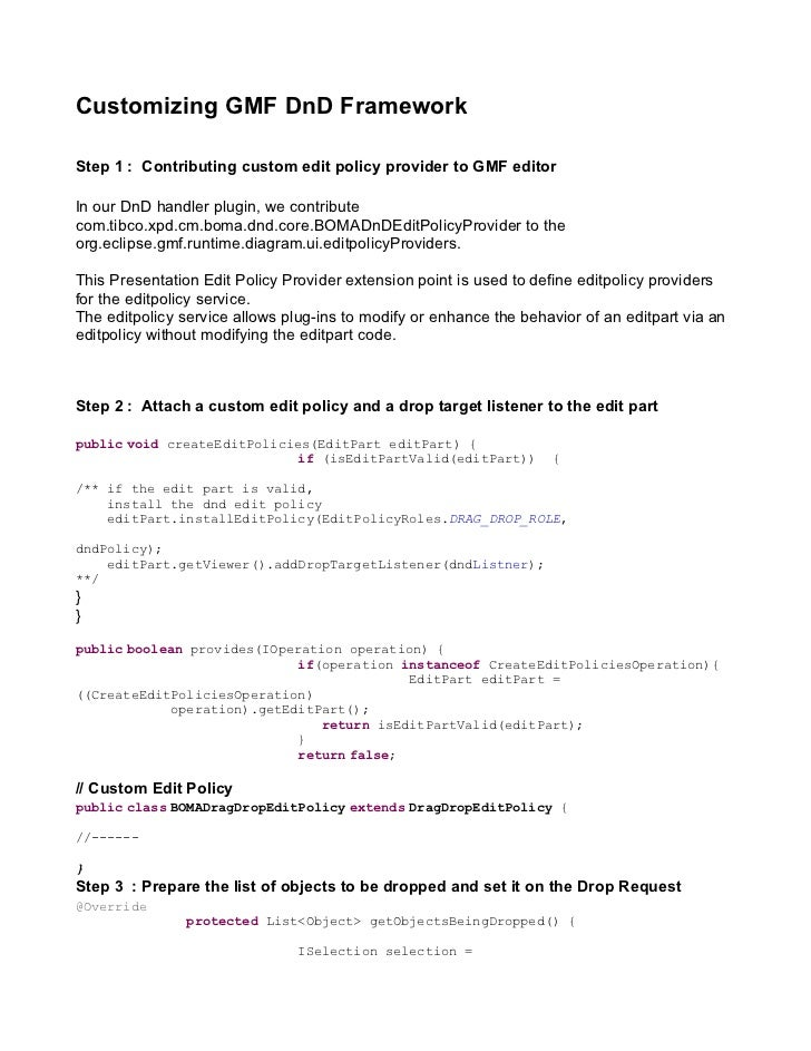 Create a Customized GMF DnD Framework