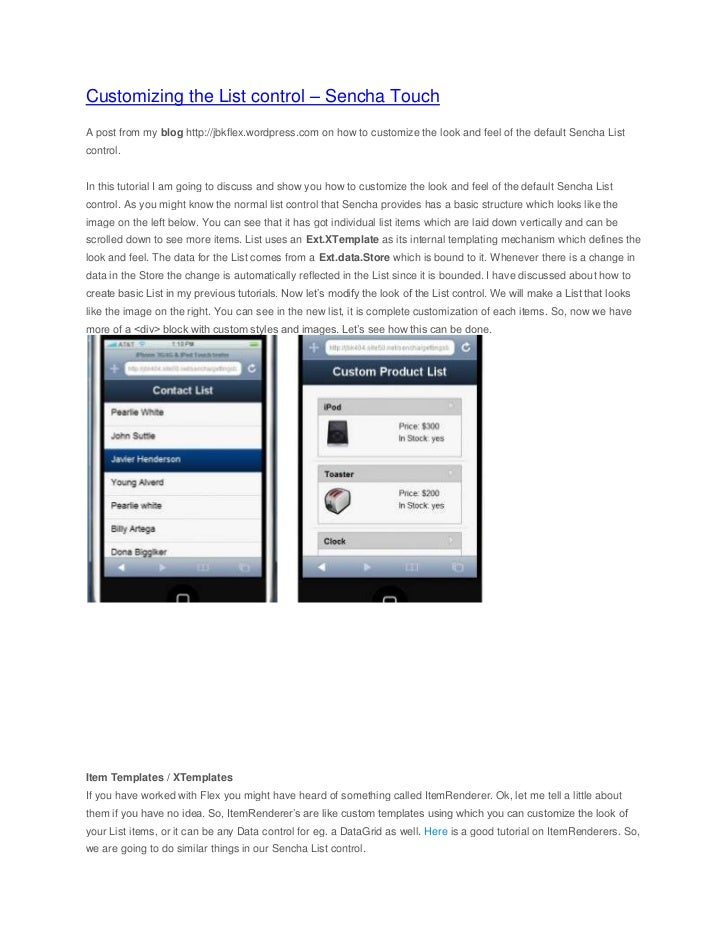 Customizing the list control - Sencha Touch mobile web application