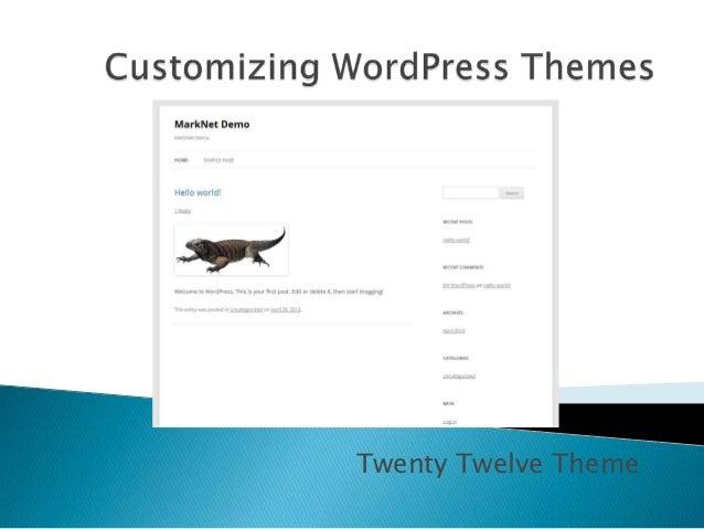 Customizing WordPress Themes