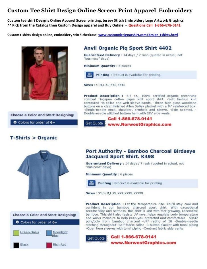 Custom Tee Shirt Design Online Screen Print Apparel EmbroideryCustom tee shirt Designs Online Apparel Screenprinting, Jers...