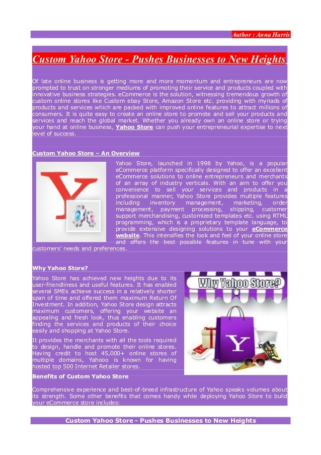 Custom Yahoo Store - Pushes Businesses to New Heights