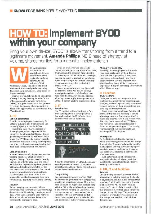 B2B Marketing article by Amanda Phillips (Volume Ltd MD and Head of Strategy): 'HOW TO: Implement BYOD within your company'