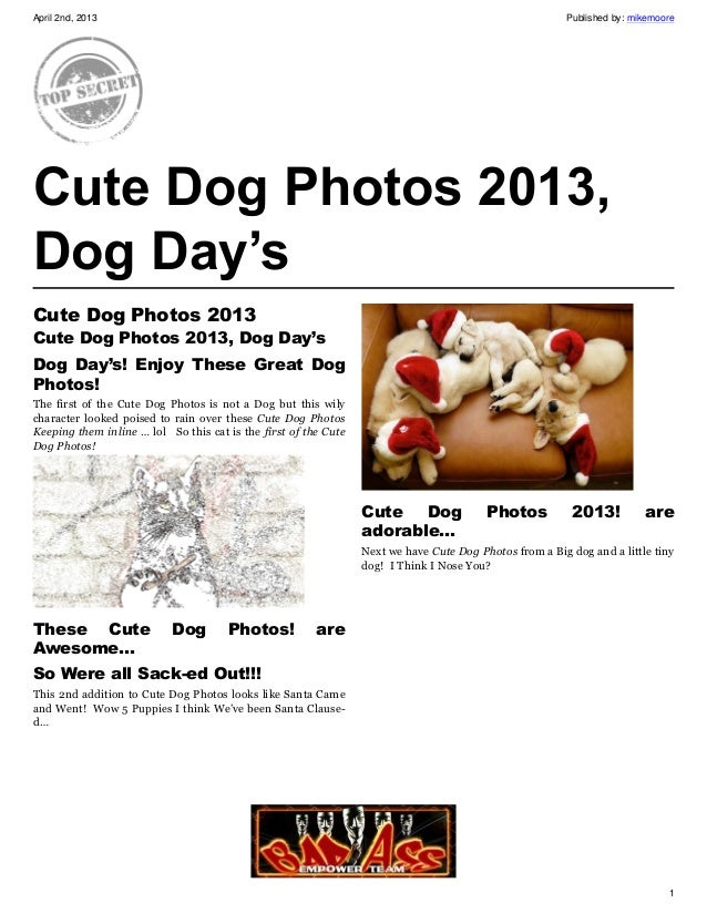 April 2nd, 2013                                                                                         Published by: mike...