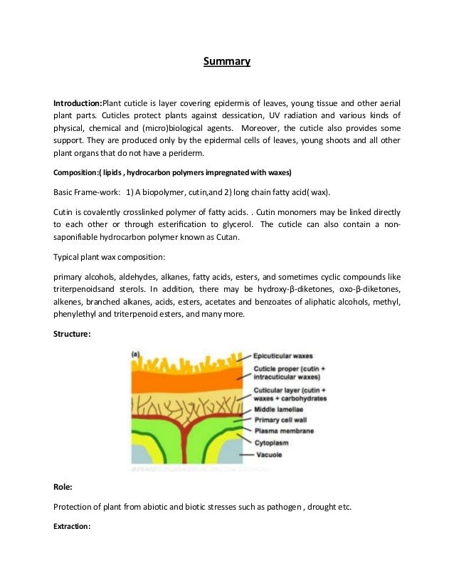 Summary Introduction:Plant cuticle is layer covering epidermis of leaves, young tissue and other aerial plant parts. Cutic...