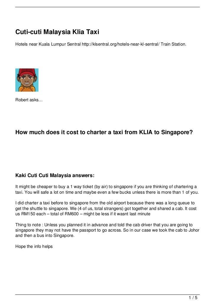 Cuti-cuti Malaysia Klia TaxiHotels near Kuala Lumpur Sentral http://klsentral.org/hotels-near-kl-sentral/ Train Station.Ro...