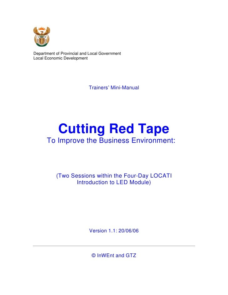 Cutting Red Tape To Improve the Business Environment