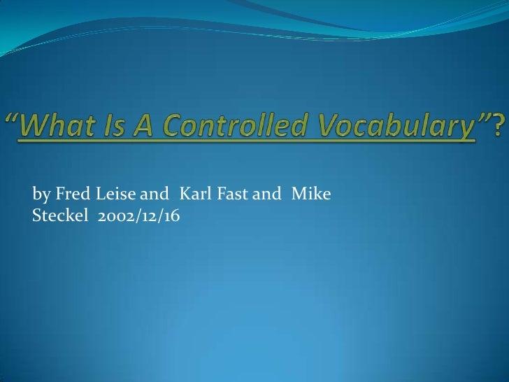 controlled vocabulary שפה מבוקרת