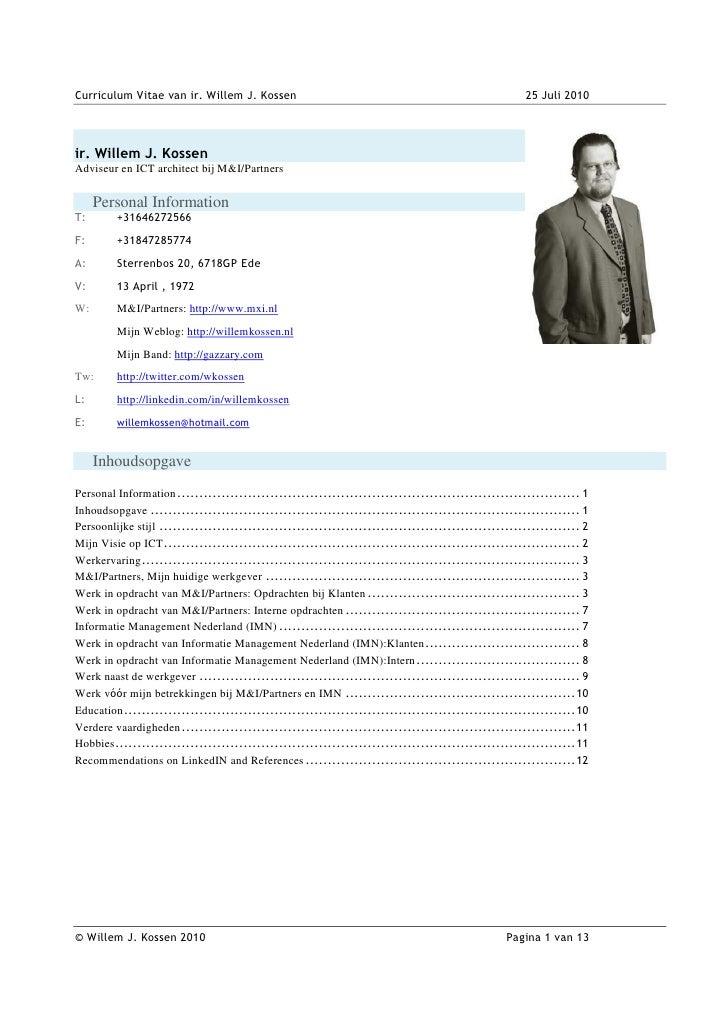 Willem Kossen's CV