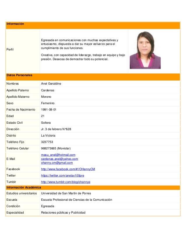 Curriculum Vitae No Documentado Modelo Doc