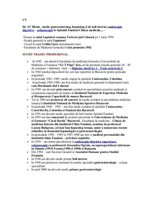 CV Dr AV Ditoiu , medic gastroenterolog, hepatolog si de boli interne, endoscopie digestiva – colonoscopie la Spitalul Fun...
