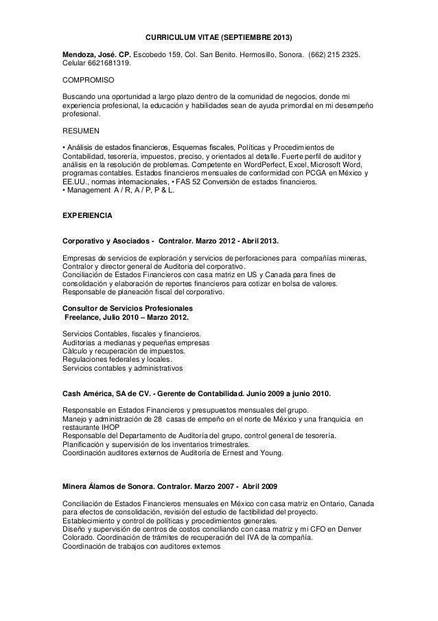 Curriculum Vitae Cronologico Inverso Contador Publico
