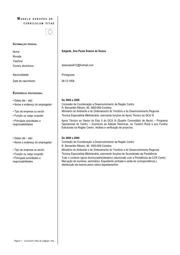 MODELO          EUROPEU DE            CURRICULUM VITAE     INFORMAÇÃO PESSOAL  Nome                                       ...