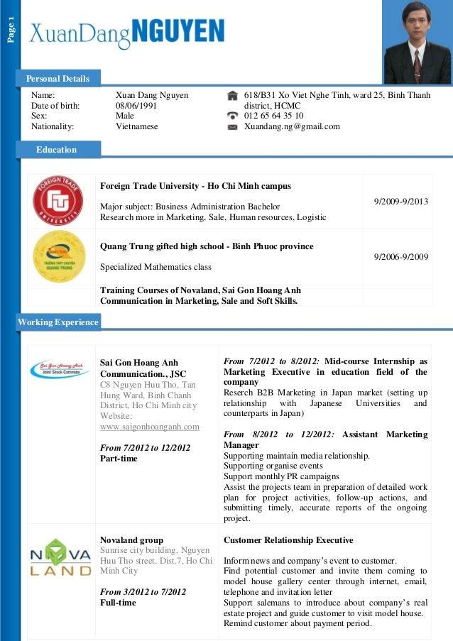 dang nguyen cv for marketing assistant
