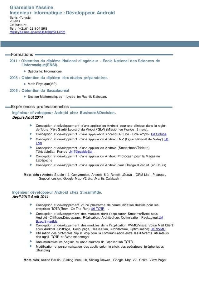 Gharsallah Yassine Ingénieur Informatique : Développeur Android Tunis -Tunisie 28 ans Célibataire Tel : (+216) 21 804 598 ...