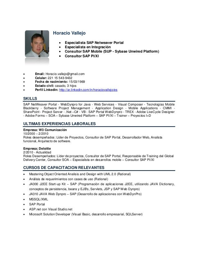 Horacio Vallejo                            Especialista SAP Netweaver Portal                            Especialista en ...