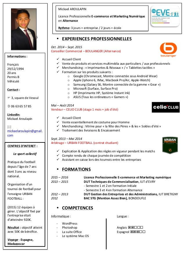 cv - licence pro