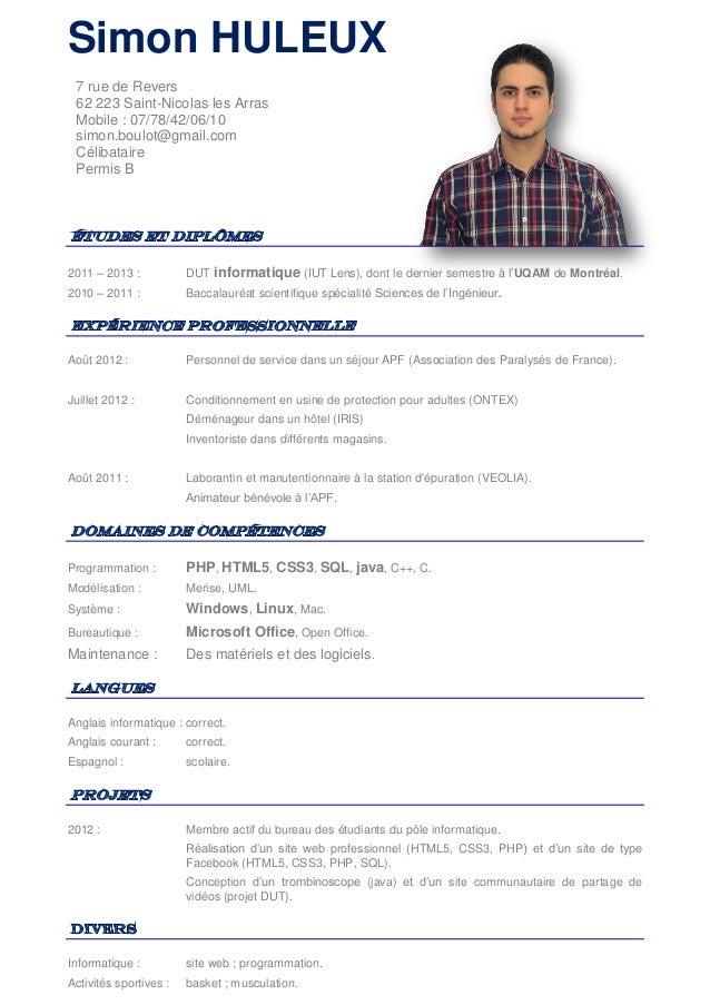 resume format  modele cv manutentionnaire
