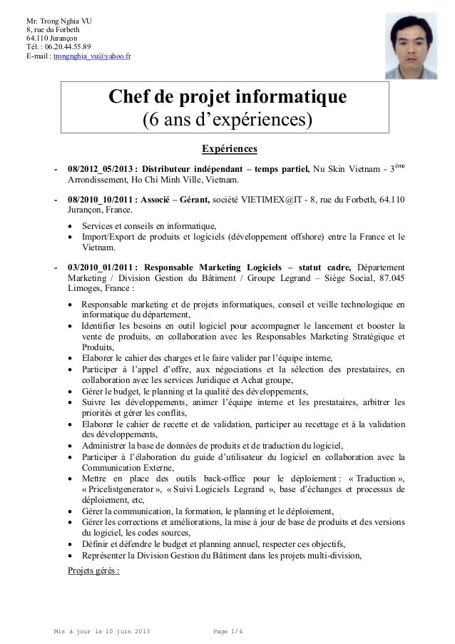 exemple cv chef d equipe