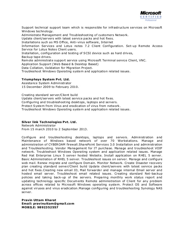 system administrator resume